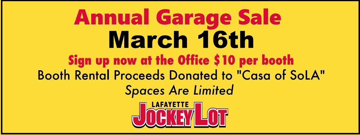 2019 Jockey Lot Annual Garage Sale March 16